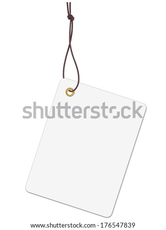 White tag label with string - stock photo