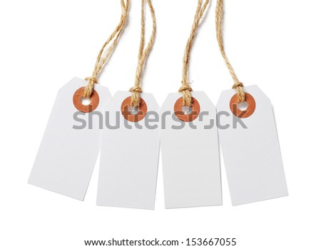 White tags isolated on white background - stock photo
