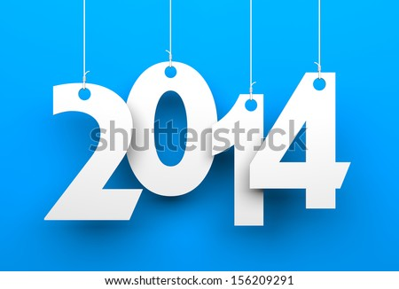 White tags with 2014 on blue background - stock photo