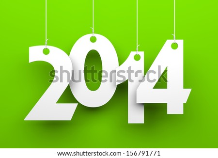 White tags with 2014 on green background  - stock photo