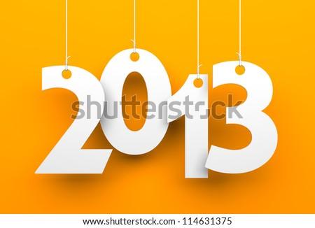 White tags with 2013 on orange background - stock photo