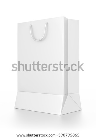 White tall rectangle blank bag isolated on white background. - stock photo