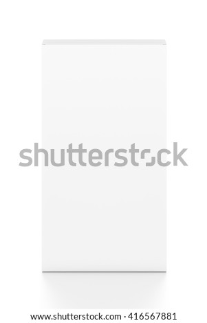 White tall thin vertical rectangle blank box from top front angle. 3D illustration isolated on white background. - stock photo