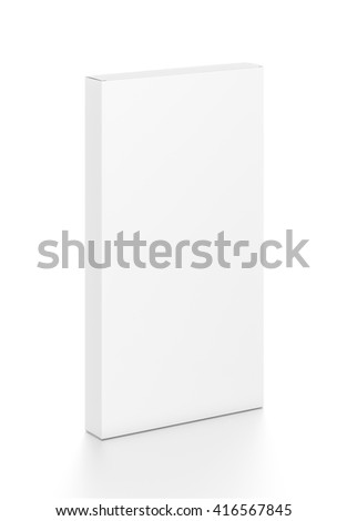 White tall thin vertical rectangle blank box from top front side angle. 3D illustration isolated on white background.