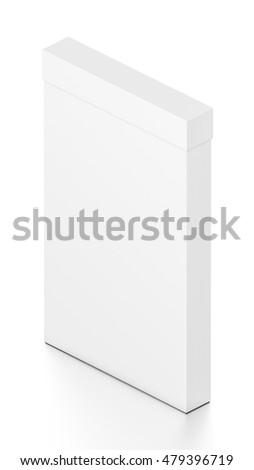 White tall thin vertical rectangle blank box with cover from isometric angle. 3D illustration isolated on white background.