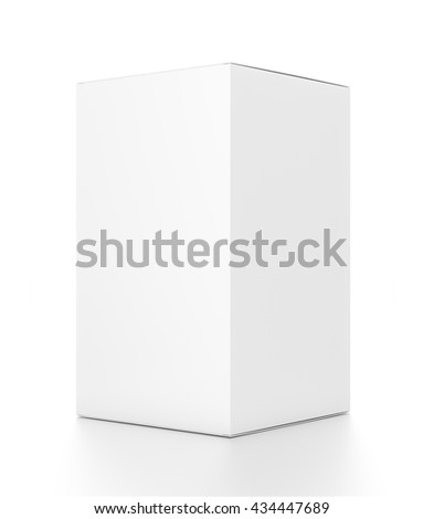 White tall vertical rectangle blank box from side angle. 3D illustration isolated on white background. - stock photo