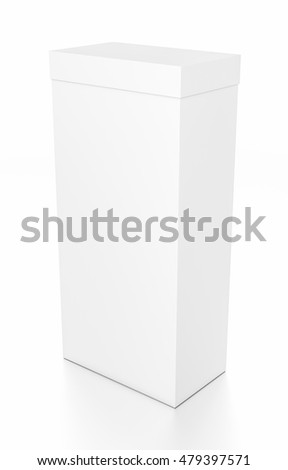 White tall vertical rectangle blank box with cover from top side angle. 3D illustration isolated on white background.