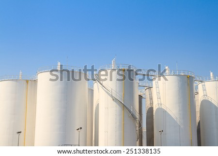 White tanks for chemical industry - stock photo