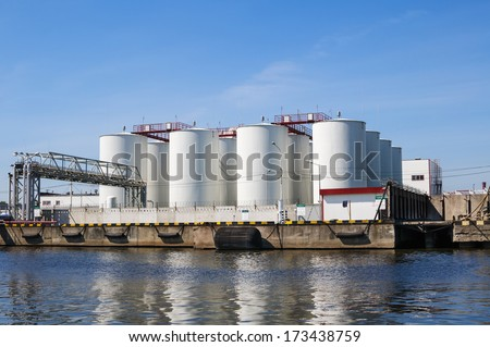White tanks for petrol and oil in industrial zone  - stock photo