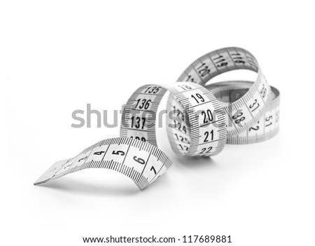 white tape measuring - stock photo