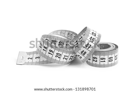 white tape measuring isolated on white background - stock photo