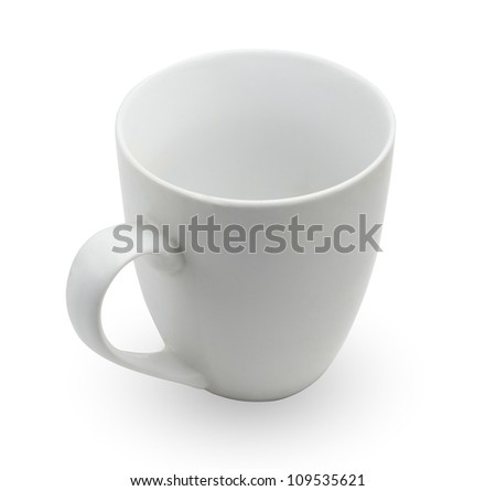 white tea cup isolated on white - stock photo
