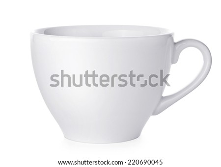 White tea cup isolated on white background - stock photo