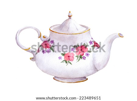 White tea pot with flowers. Watercolor - stock photo