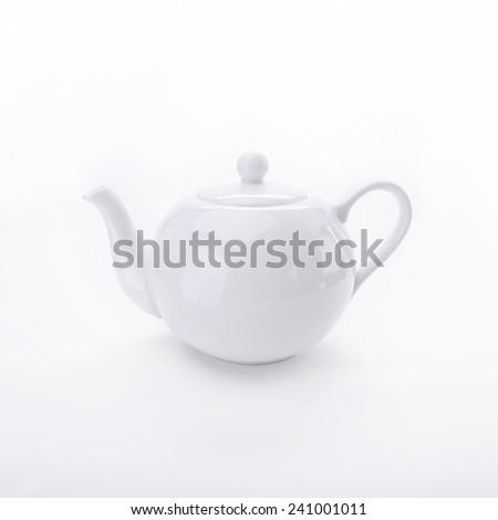 White teapot isolated on white background - stock photo