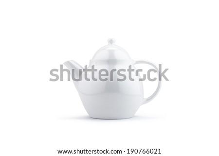 White teapot isolated on white with soft shadows - stock photo