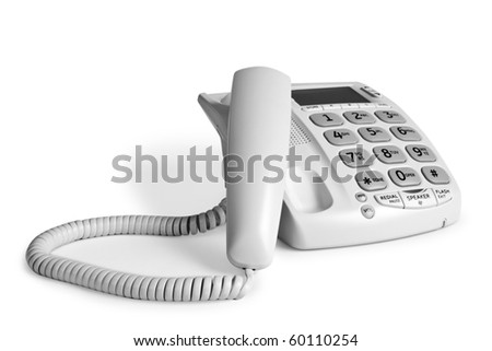white telephone - stock photo