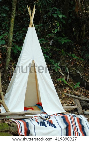 White tent in the forest for teen tourism - Inspired from hipster backpacker style & White Tent Forest Teen Tourism Inspired Stock Photo 419890927 ...
