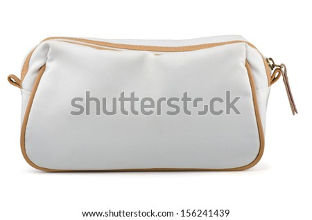 White textile cosmetic bag isolated on white - stock photo