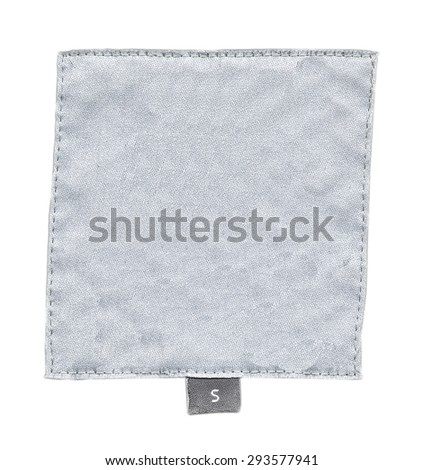 white textile label isolated on white background , size