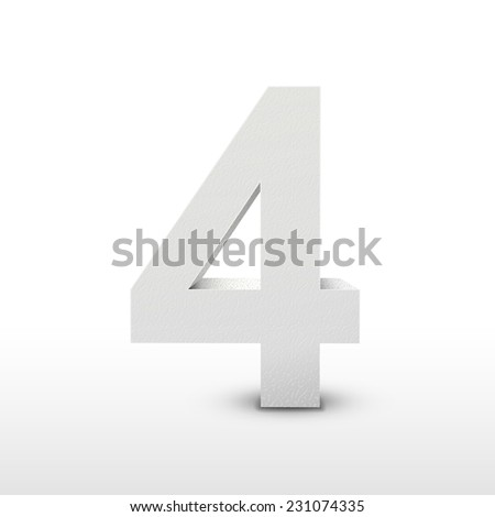 white texture number four isolated over white background