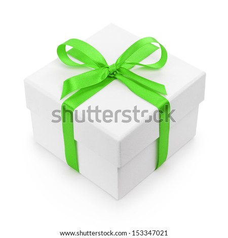 white textured gift box with green ribbon bow, isolated on white - stock photo