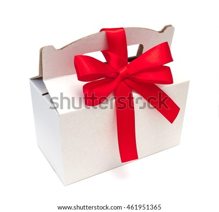 white textured gift box with red ribbon bow, isolated on white
