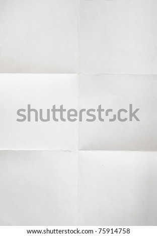 white textured sheet of paper folded in six - stock photo