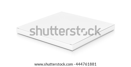 White thin flat horizontal rectangle blank box from top side angle. 3D illustration isolated on white background.