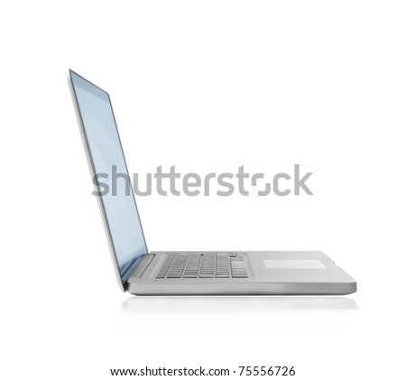 White thin laptop - stock photo