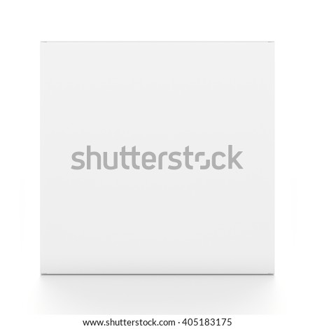 White thin rectangle blank box from front angle. 3D illustration isolated on white background. - stock photo