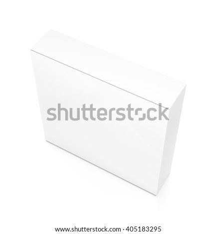 White thin rectangle blank box from top side angle. 3D illustration isolated on white background.