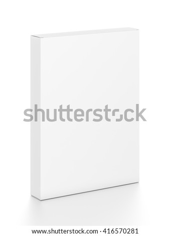 White thin vertical rectangle blank box from top front side angle. 3D illustration isolated on white background.
