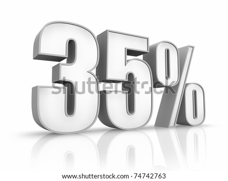 White thirty five percent, isolated on white background. 35% - stock photo
