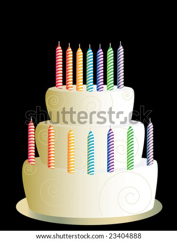 White three layer birthday cake - jpg version - stock photo