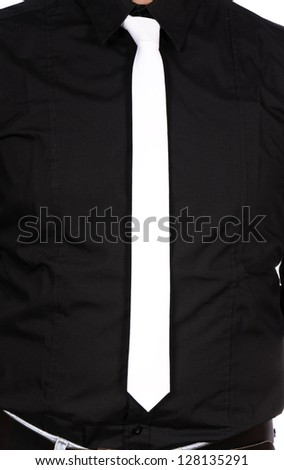 White tie and black shirt - stock photo
