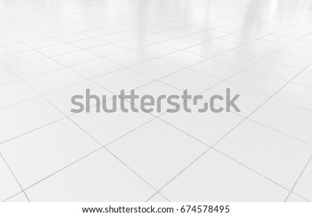 White tile floor clean condition with grid line for background.