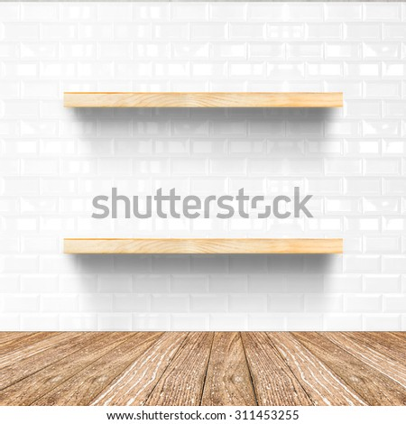 white tile room and wooden flooring with wooden shelf, Mock up for display of product. - stock photo