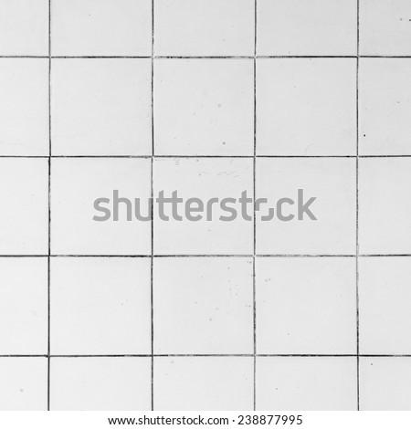 White tiles in a bathroom - stock photo