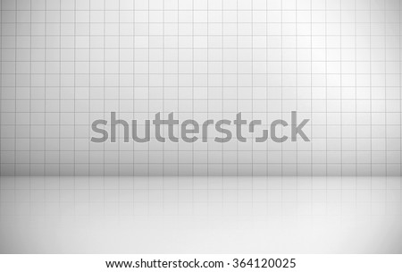 White tiles wall background rendering. - stock photo