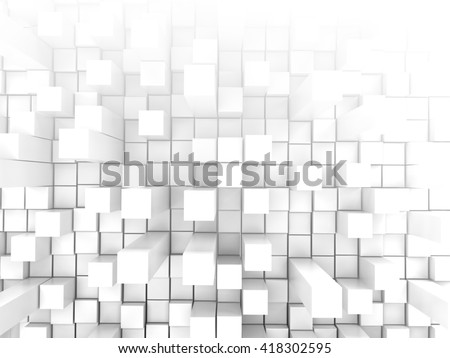 White tiles wall extruded background, 3d illustration. - stock photo