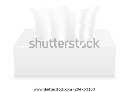 white tissue box illustration isolated on background - stock photo