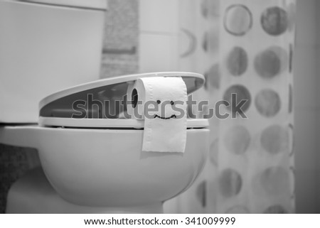 White toilet bowl and Toilet Paper. - stock photo