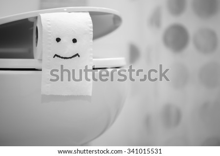 White toilet bowl and Toilet Paper - stock photo