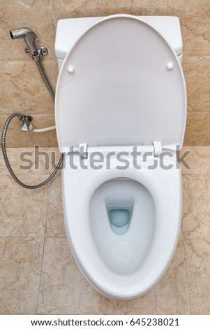 White toilet bowl in a bathroom interior