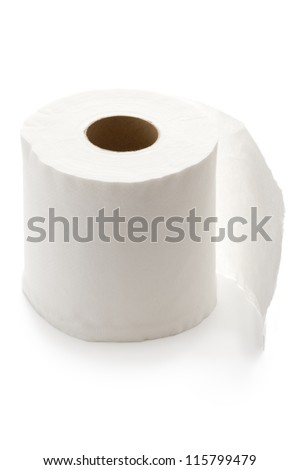 white toilet roll isolated - stock photo
