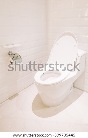 White toilet seat decoration in bathroom  interior - Vintage Light Filter