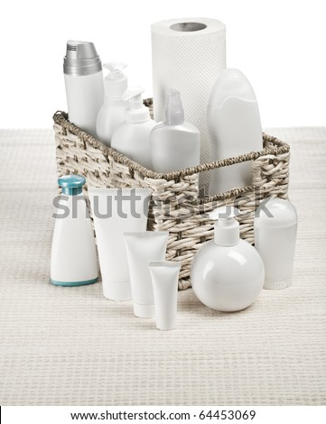 white toiletries on mat - stock photo