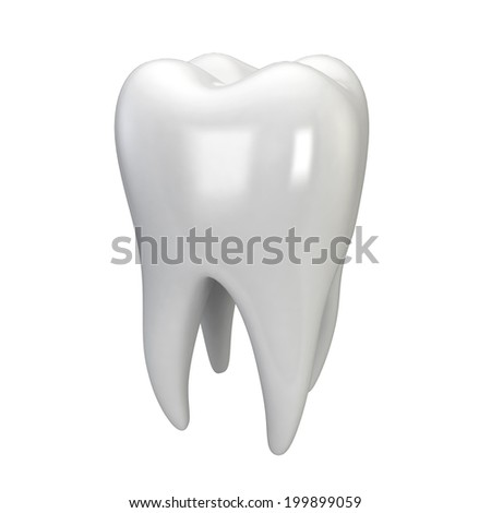 White tooth. 3d illustration isolated on white background  - stock photo