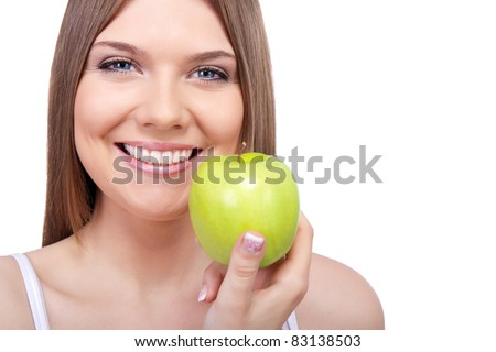 white tooth, smiling, healthy woman with green apple, isolated on white background